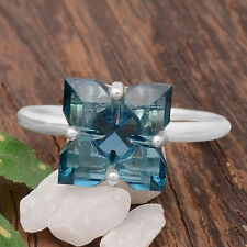 London Blue Topaz 925 Sterling Silver Handmade Ring Jewelry s.8.5 SDR81225