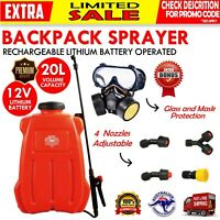 20L Backpack Sprayer 12V Electric Weed Rechargeable Farm Garden Spray Pump Pest