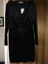 Ladies Oasis Velvet Dress Black Size 12 Brand New With Tags