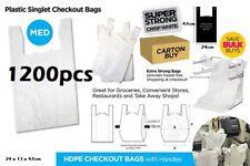 1200pcs Plastic Singlet Shopping Carry Checkout Bag Medium 24cmx13cmx47cm White
