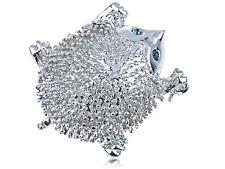 HedgeHog Animal Forest Pin Brooch Big Tanzanite Sapphire Eyed Fluffy Silver Tone