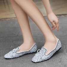 Womens Sequins Bling Loafers Rhinestone Flat Casual Pumps Soft Comfy Boat Shoes