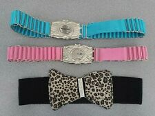 Punky Fish BELTS 2 Blue Pink Silver Metal Buckle Links 1 Unbranded Black Stretch