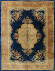 One-of-a-Kind Wool 9x11 Floral Oriental Handmade Chinese Art Deco Area Rug Old