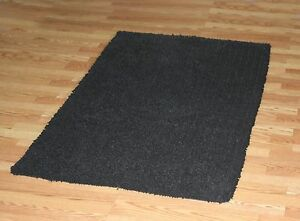 LARGE 8' x 11' BLACK Super Soft Cotton chennile noodle Shag Rug soft and plush