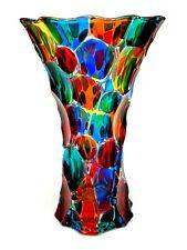 Signed & Certificate Magnificent Murano Multi Coloured Art Glass Fazzoletto Vase
