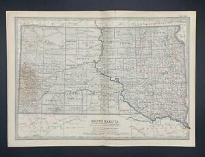 Original Encyclopaedia Britannica Map South Dakota State United States from 1903