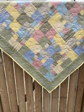 """Handmade Estate Patchwork Feedsack Crib Quilt 401/2""""x481/2"""", signed dated 2008"""