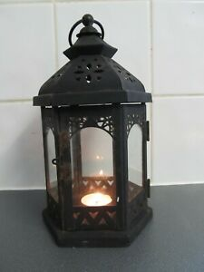 Vintage Metal Glass Lantern Candle Holder 26cms takes  Real or LED Candles