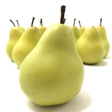 Set Of 12 Lifelike Pears Realistic Decorative Artificial Fruit Green with Stems