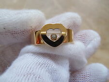 Chopard Happy 750 18k Yellow Gold Floating Diamond Heart Ring Band.  Size 6