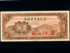 China:P-S851,10 Cents ,1933 * Charhar Commercial Bank * AU-UNC *