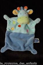 Doudou carré plat bleu orange Vache Girafe Mots d'enfants Leclerc
