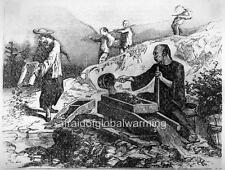 "Old Print ""Chinese Men Mining Gold in California"""