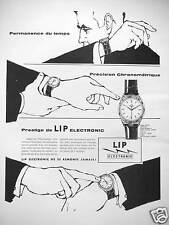PUBLICITÉ 1960 MONTRE LIP PRÉCISION CHRONOMÈTRIQUE PRESTIGE DE L'ÉLECTRONIC