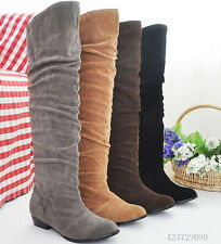 Women's Shoes Stretch Winter Comfort Low Heel Knee High Boots AU All Size YB060