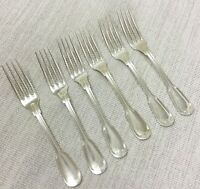 Vintage Christofle Chinon Large Dinner Table Forks Set of 6 French Silver Plated