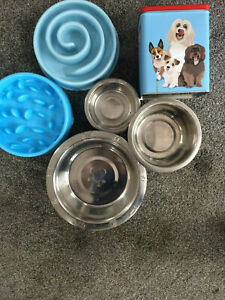 ASSORTED DOGS DISHES & TREAT TIN