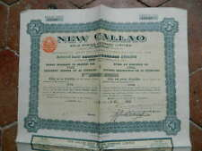 Action Obligation NEW CALLAO Gold mining company Londres 1925