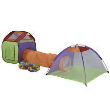 XL Spielzelt Pop Up Bällebad Spielhaus Tunnel Kinder Zelt 200 Bälle und Tasche