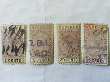1888 Malaya Straits Settlements  Revenue 4 Stamps CV Rm 74