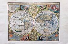 AMAZING VINTAGE ART RARE ANTIQUE MAP COLOR LITHOGRAPH OF THE NEW WORD HISTORY