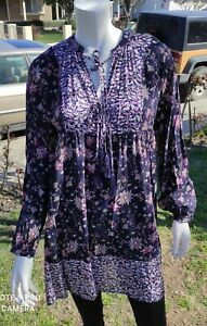Umgee Boho Babydoll Flowy Tunic mini Dress Long Sleeve size Large
