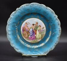ES / RS Prussia Prov Saxe Suhl Ladies & Cupid Blue & Gold Dinner Plate