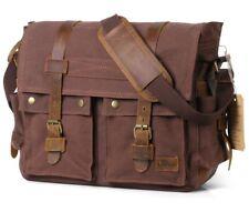 Men's Vintage Canvas Leather Military X-Large Laptop Shoulder Messenger Bag