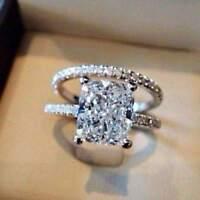 5 CT Cushion Cut Diamond Bridal Set Engagement Ring 14k White Gold Finish