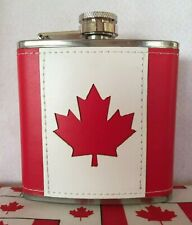 Canadian Stainless Steel Red & White Maple Leaf 6 oz Flask! Ships fast from USA!