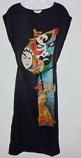 NEW but Vintage from China 100% Silk Sleeveless Tank Dress Sheath M Black Opera