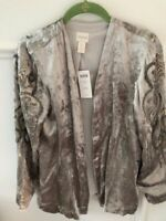 Women's NWT CHICO'S Seagull Gray Velvet Embellished Long Sleeve Jacket-00, XS, 2