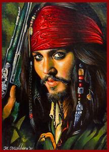 Original Acrylic ACEO PAINTING Captain Jack Sparrow Johnny Depp Pirates Mishkova