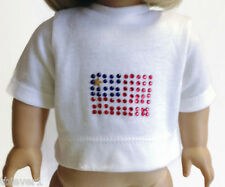 "White Knit Top Shirt with Flag Emblem made for 18"" American Girl Doll Clothes"