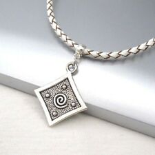 Braided White Leather Choker Necklace Silver Alloy Square Spiral Pendant