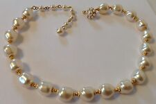 VINTAGE MIRIAM HASKELL SIGNED BAROQUE PEARL NECKLACE FLOWER HOOK