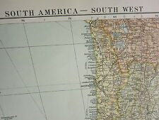 1919 LARGE MAP ~ SOUTH AMERICA SOUTH WEST CENTRAL CHILE GALAPAGOS ISLANDS