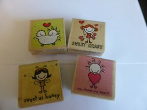 4 WOODEN RUBBER STAMPS  SMIRK CUTE IDEAL FOR CARD MAKING