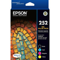 GENUINE Epson 252 4 color Value Pack Ink WF-3620 WF-3640 WF-7610 WF-7620 T252692