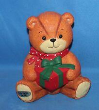 Vintage Enesco Lucy & Me Christmas Teddy Bear With Present Bank