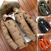 Mens Duck Down Fur Collar Thick Winter Hooded Coat Outwear Parka Warm Jacket