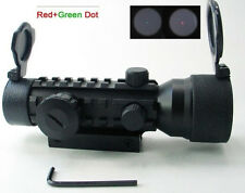 New 2x42mm Triple Red Green Dot Optic Rifle Scope Sight 20mm Weaver Tri Weaver