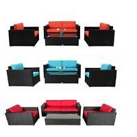 4 PC PE Rattan Wicker Sofa Patio Sectional Furniture Set with Tea Table New