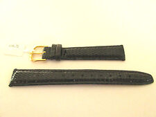 PADDED BLACK LIZARD LEATHER 14MM WATCH STRAP BAND GUILT BUCKLE
