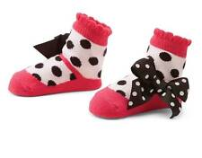 Mud Pie Zoey Hot Pink & Black Mary Jane Socks w/Bows  0-12 Months - DISCONTINUED