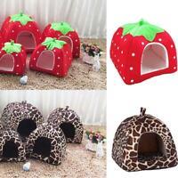 Super Soft Strawberry Pet Dog Cat Bed House Kennel Doggy Warm Cushion Basket US