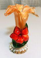 Bud vase/glass art flower design orange, red & green