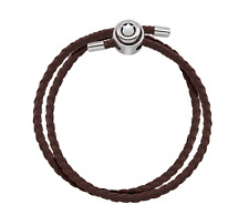PERSONA Brown Double Wrap Braided Leather Charm Bracelet Sterling H11766B1-05