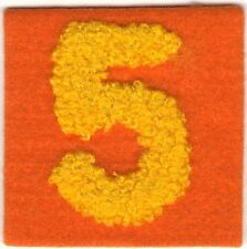 Orange Felt Chenille Varsity Yellow Number 5 Embroidery Patch